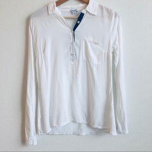 Splendid white Henley long sleeve one pocket